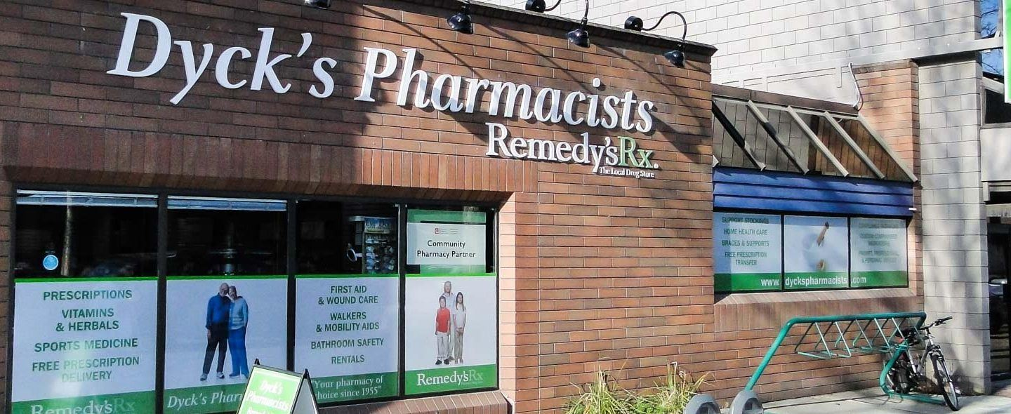 exterior of Dyck's Pharmacists, Remedy's RX