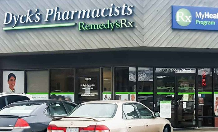 exterior of Dyck's Pharmacists, a Remedy's RX store