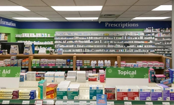 over the counter and prescription products in a pharmacy store